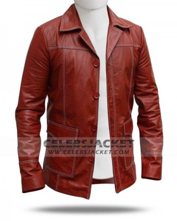 Red Leather Fight Club Coat