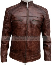 Cafe Racer Brown Distressed Leather Jacket
