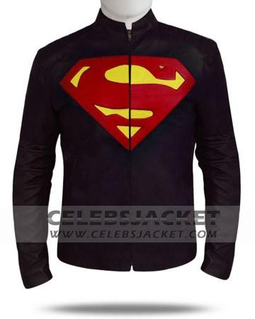 Leather Clark Kent Jacket Superman in Black