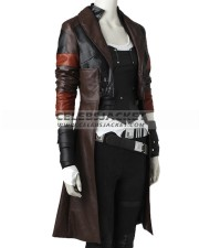 Guardians Of The Galaxy Zoe Saldana Leather Vest Coat