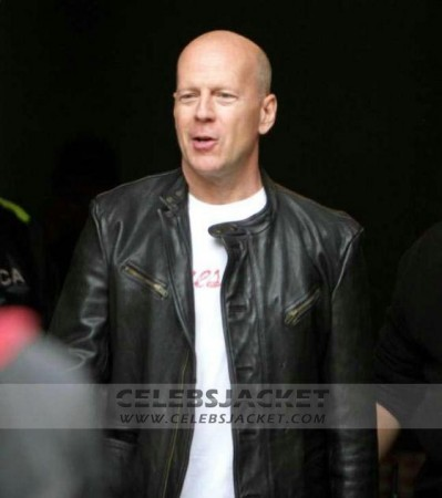 John McClane Bruce Willis Black Leather Jacket from A Good Day To Die Hard