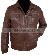 mens brown bomber fashion jacket
