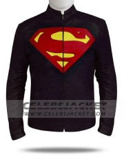Leather Clark Kent Jacket Superman in Black