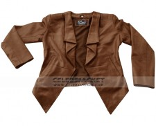 2 Broke Girls Brown Leather Jacket