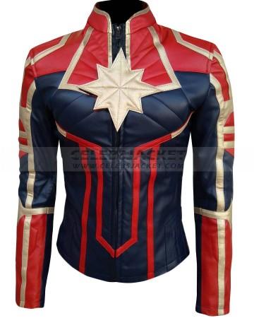 Captain Marvel Brie Larson Carol Danvers Leather Jacket
