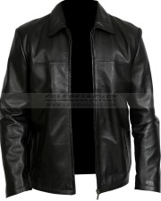 Black Washington Mens Leather Zipper Jacket