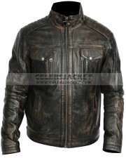rub off leather biker style jacket