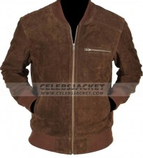 brown bomber suede leather jacket