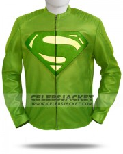 Green Man Of Steel Superman Jacket in Leather