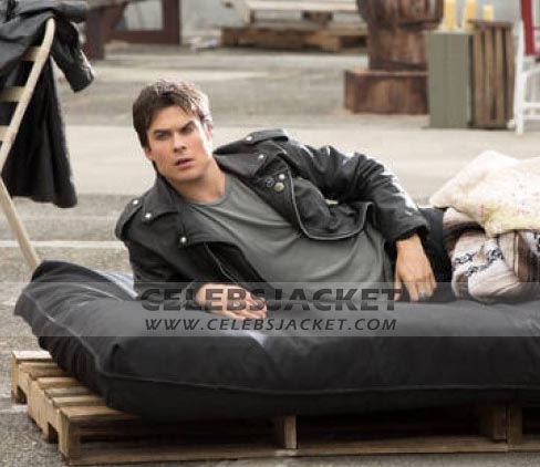 e2dbb46aae24 The Vampire Diaries Motorcycle Jacket - Damon Salvatore Leather Jacket