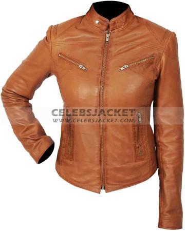 womens tan casual biker leather jacket