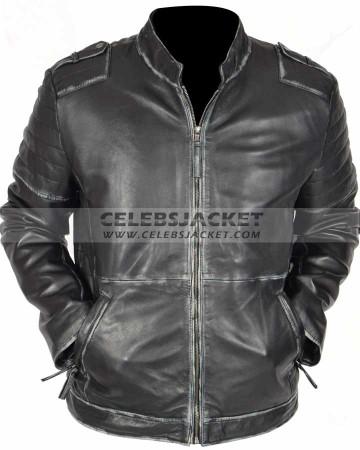 vintage mens black distressed leather jacket