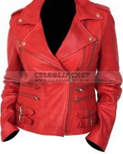 womens red motorcycle style leather jacket