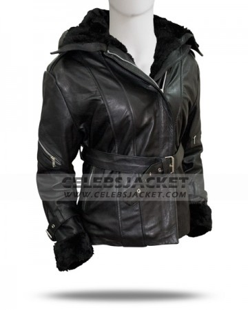 Emma Swan Hooded Black Leather Jacket For Sale