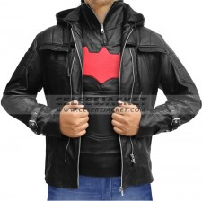 Batman Arkham Leather Jacket Vest In Black