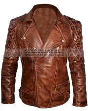 Classic Diamond Biker Motorcycle Leather Jacket