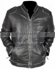 vintage mens black distressed leather jacket