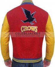 red and yellow varsity jacket