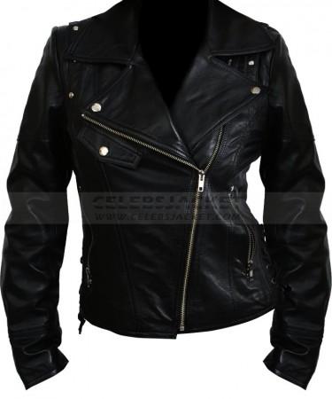 womens black biker slim fit leather jacket