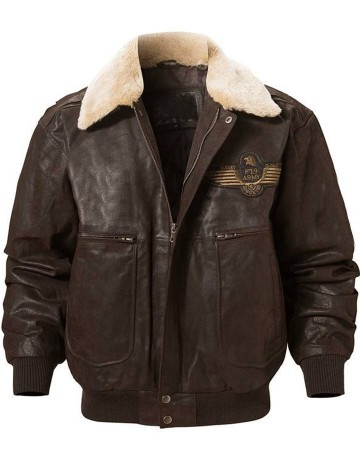 Pierson Mens Leather Bomber f19 Army Jacket