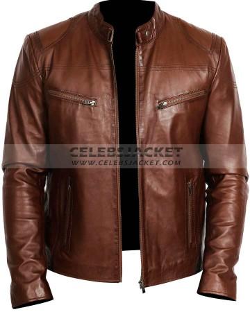 mens brown racing biker leather jacket