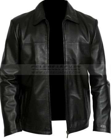 Black Washington Mens Leather Zipper Jacket